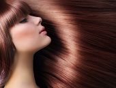 Brown Hair. Beautiful Woman with Healthy Long Hair poster