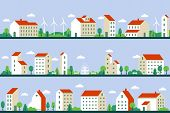 Minimal City Panorama. Townhouses Buildings, Townscape And Cityscape Building Geometric Style Flat V poster
