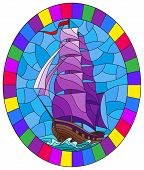 Illustration In Stained Glass Style With An Old Ship Sailing With Purple Sails Against The Sea,  Ova poster