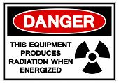 Danger This Equipment Produces Radiation When Energized Symbol Sign, Vector Illustration, Isolate On poster