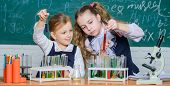 Chemistry Is About Reaction. Smart School Children Performing Chemistry Test In Lab. Small Schoolgir poster