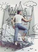 King Of The Family. Top View Photo Of Young Man Sleeping In A Big White Bed At Home. Dreams Concept. poster