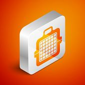Isometric Pet Carry Case Icon Isolated On Orange Background. Carrier For Animals, Dog And Cat. Conta poster