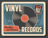 Vinyl Record Disk Vintage Poster. Vector Retro Music Vinyl Player Store Or Dj Musical Instruments Sh poster