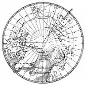 Dr. Nansen's path across the Arctic Circle. Engraving by Schyubler. Published in magazine