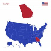 The State Of Georgia Is Highlighted In Red. Blue Vector Map Of The United States Divided Into Separa poster