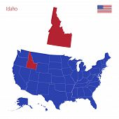 The State Of Idaho Is Highlighted In Red. Blue Vector Map Of The United States Divided Into Separate poster