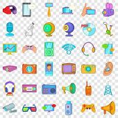 Electronic Gadget Icons Set. Cartoon Style Of 36 Electronic Gadget Vector Icons For Web For Any Desi poster