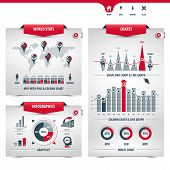 Set Of Charts And Graphs Containing World Map With Pins, Location Signs, Column Charts, Shape Bar Ch poster
