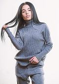Warm Comfortable Clothes. Casual Style Fashion For Every Day. Female Knitwear. Fashionable Knitwear. poster