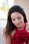 picture of matron  - Beautiful Sexy Asian Woman in red dress for Valentines Day or Bridal Party Maid of Honor and Brides Maid - JPG