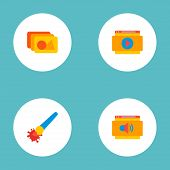 Set Of Website Icons Flat Style Symbols With Painting, Website Audio, Website Video And Other Icons  poster