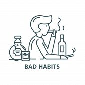 Bad Habits Line Icon, Vector. Bad Habits Outline Sign, Concept Symbol, Flat Illustration poster