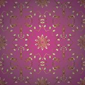 Seamless Classic Vector Brown And Pink And Golden Pattern. Traditional Orient Ornament. Classic Vint poster