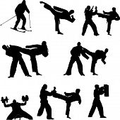 foto of jiujitsu  - Set of martial arts people silhouette vector - JPG