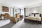 Hotel Room - Vacation Concept Background - Luxurious Modern Hotel Room Apartment Interior poster