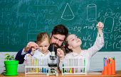 How To Interest Children Study. Fascinating Biology Lesson. Man Bearded Teacher Work With Microscope poster