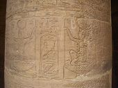 picture of aswan dam  - Hieroglyphics on a column at Philae temple in Aswan Egypt - JPG