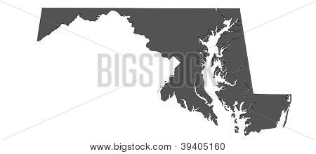 Map of Maryland - USA - nonshaded