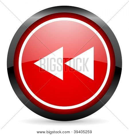 scroll round red glossy icon on white background