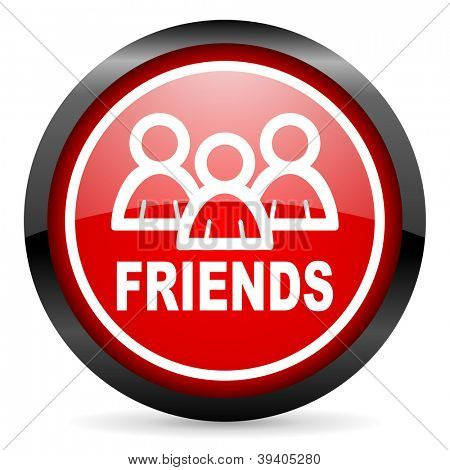 friends round red glossy icon on white background