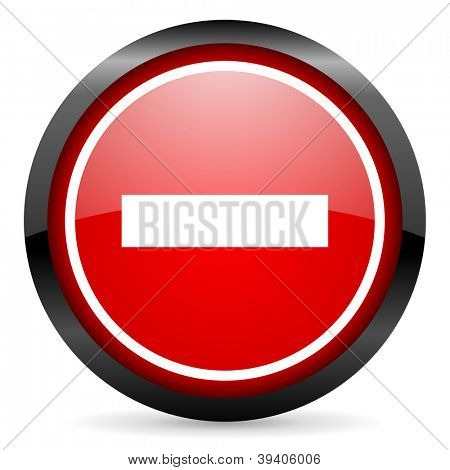 minus round red glossy icon on white background