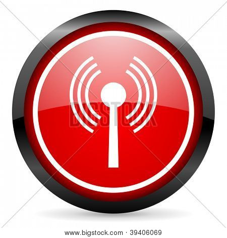 wifi round red glossy icon on white background