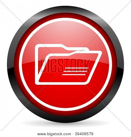 folder round red glossy icon on white background