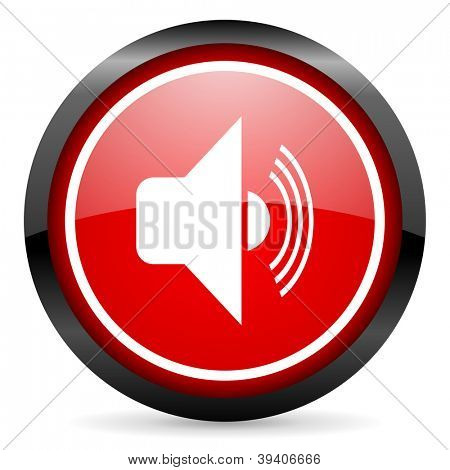 volume round red glossy icon on white background