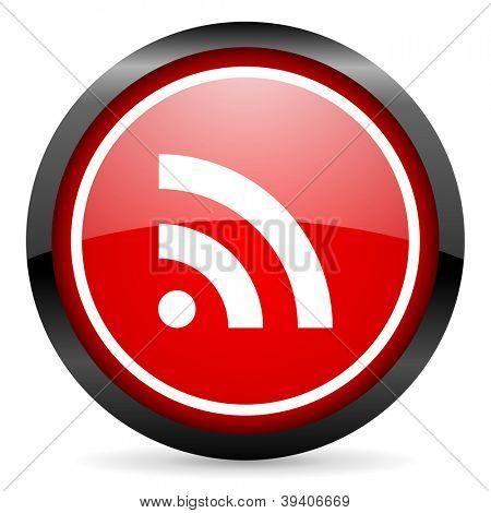 rss round red glossy icon on white background