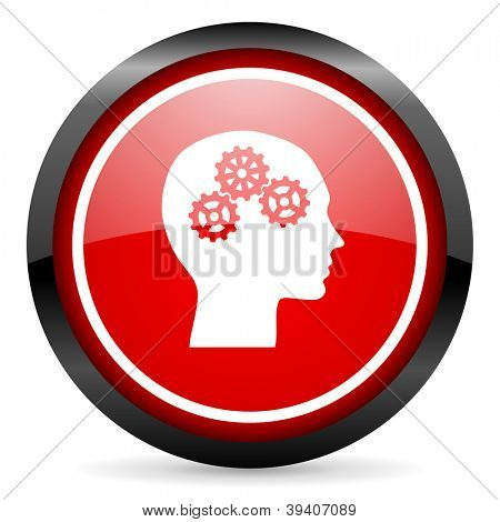 head round red glossy icon on white background