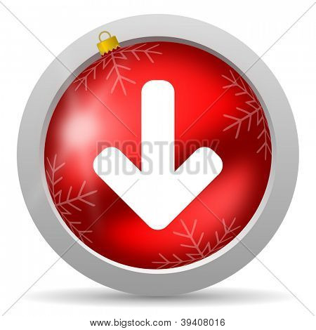 arrow down red glossy christmas icon on white background