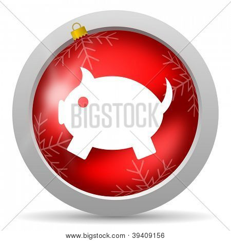 piggy bank red glossy christmas icon on white background