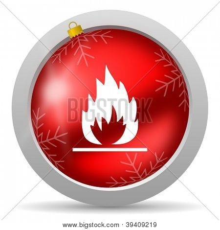 flames red glossy christmas icon on white background