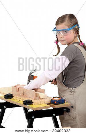 schoolgirl disguised as carpenter