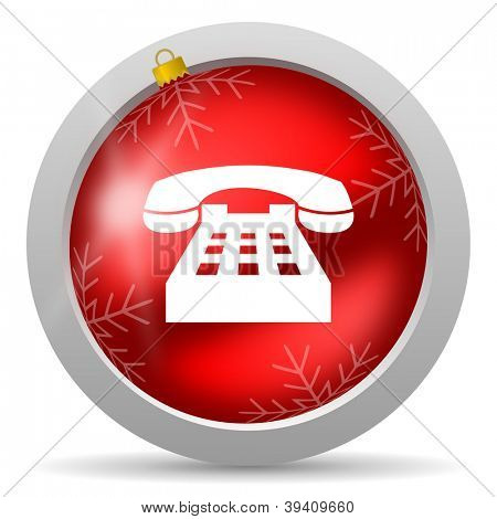 telephone red glossy christmas icon on white background