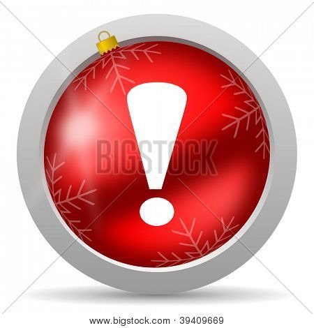 exclamation sign red glossy christmas icon on white background