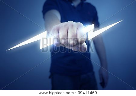 A man holding a stylized electric bolt.