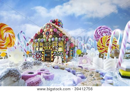 Gingerbread House In Christmas Landscape