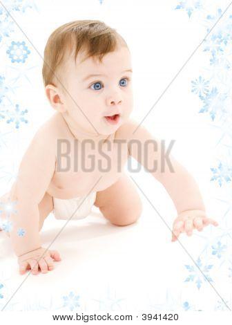 Crawling Baby Boy In Diaper