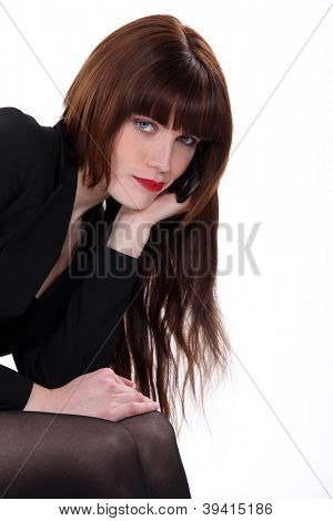 Enticing woman with long hair