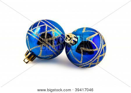 Two blue Christmas balls