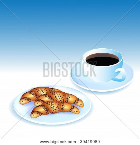 Of A Cup Of Coffee And Croissants