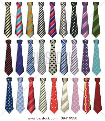 Of A Set Of Male Business Ties On A White Background