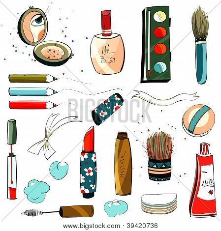 Makeup Set Colorful Drawing