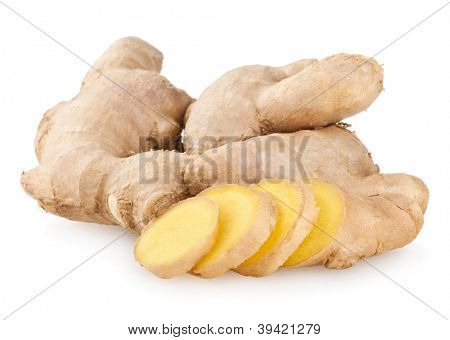 ginger root isolated on white