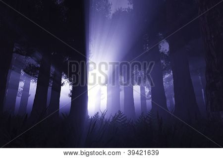 Supernatural scene in dark deep forest 3D render