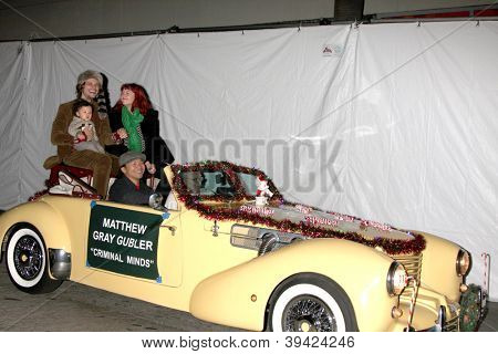LOS ANGELES - NOV 25:  Matthew Gray Gubler and family arrives at the 2012 Hollywood Christmas Parade at Hollywood & Highland on November 25, 2012 in Los Angeles, CA