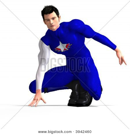 Blue Super Hero Saving The World