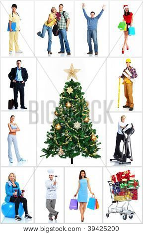 Group of workers people set. Isolated over white background.